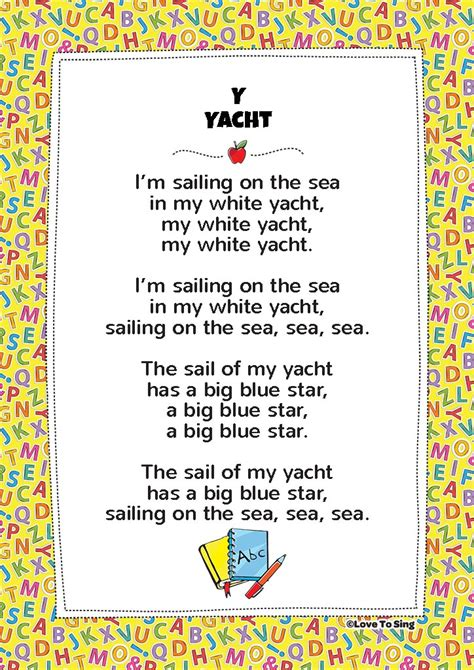 Yacht Lyrics by Y Yacht Phonics Song Free Song Lyrics Activities