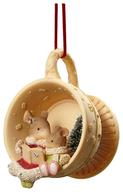 enesco heart  christmas mouse reading teacup ornament