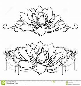 Dessin Fleurs De Lotus : dirigez le dessin avec la fleur de lotus d 39 ensemble la dentelle d corative et les remous dans ~ Dode.kayakingforconservation.com Idées de Décoration
