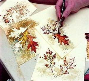 Watercolor greeting cards using leaves as stencils