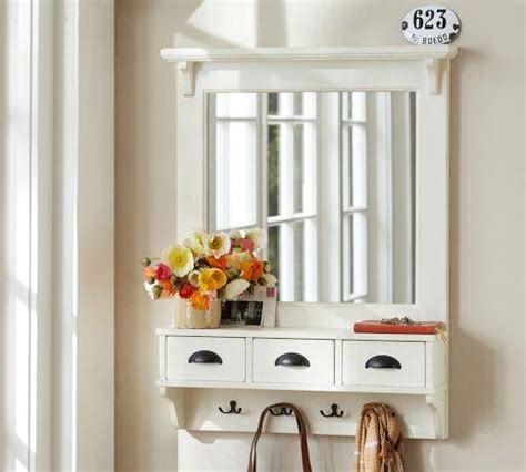wall mount entryway organizer mirror white pottery barn