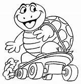 Tick Tock Coloring Turtle Crocodile Funny Skateboarding sketch template