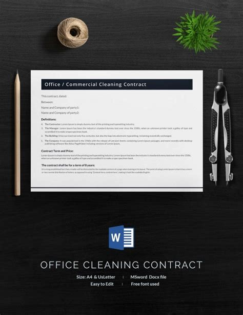cleaning contract template  word  documents