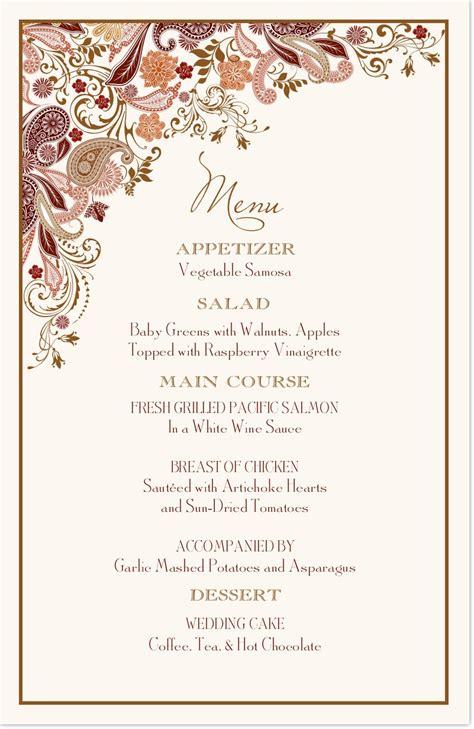 Wedding Menu Cards  Paisley Garden  Menu Card Custom. Wedding Flowers For Hair. Unique Wedding Jewellery Uk. Best Einvite Wedding Invitations. Wedding Photos Hotel Macdonald