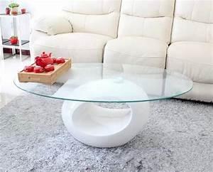 Table Basse Ovale Blanche : deco in paris table basse design blanche en verre maxus maxus blanc ~ Teatrodelosmanantiales.com Idées de Décoration