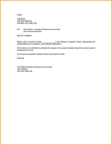 account paid full letter close bank template closing