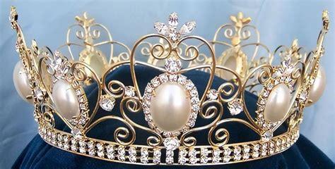 Rhinestone Queen King Full Gold Rhinestone and Pearl Crown ...