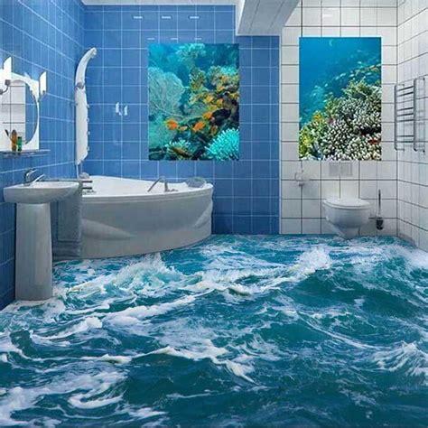 hd pvc floor wallpaper 3d bathroom living room floor painting self adhesive mural