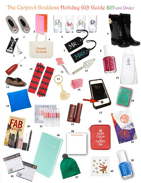 holiday gift guide 25 and under carpool goddess