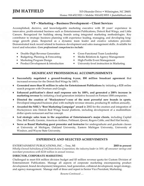 Corporate Resume Sles by Corporate Marketing Executive Resume