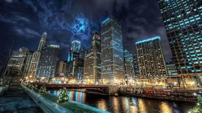 Hdr Night Chicago Cityscape