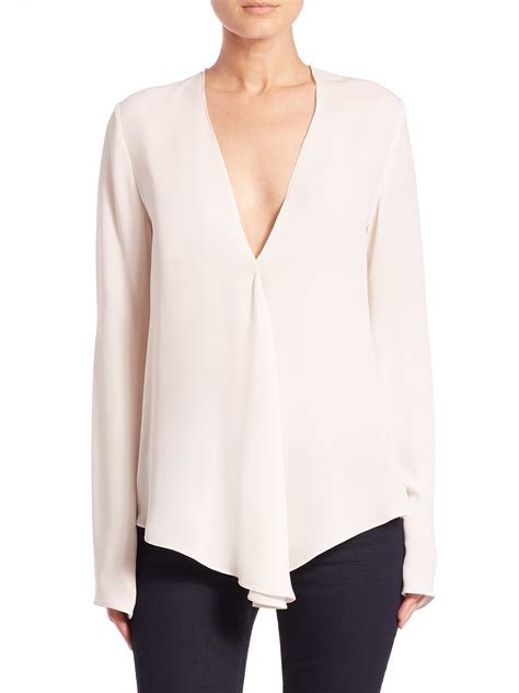 v blouse lyst theory meniph silk v neck blouse in white
