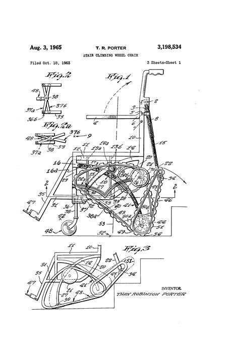 Patent US3198534 - Stair climbing wheel chair - Google Patents