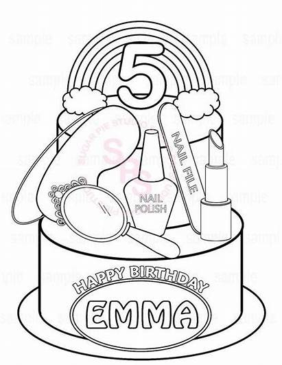 Coloring Pages Spa Birthday Printable Party Personalized