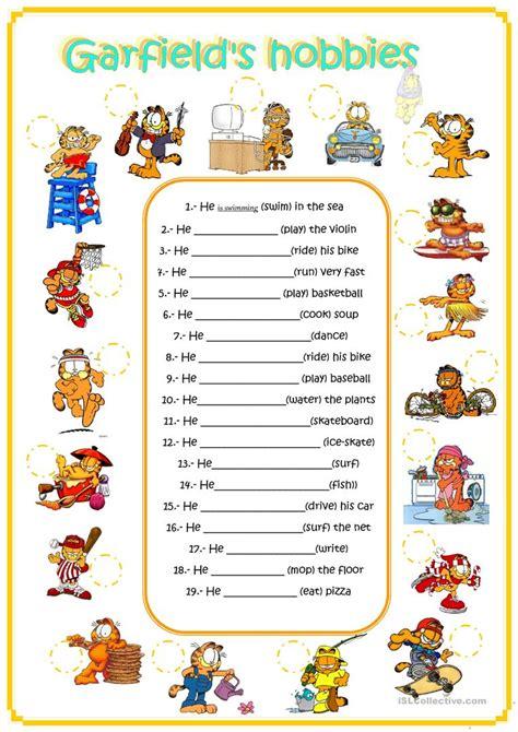 garfields hobbies worksheet  esl printable