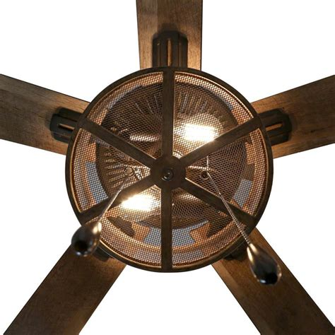 farmhouse   led oil rubbed bronze caged ceiling fan