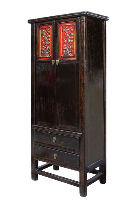 tall black storage cabinet chinese distressed black red floral motif tall slim