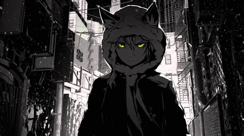 arsenixc street cat wolf nightcore darkness anime hood wallpapers monochrome 4k hd desktop