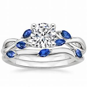 18k white gold willow bridal set with sapphire accents for Wedding ring sets with sapphire accents