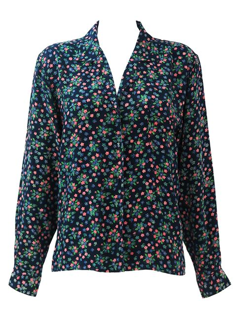 silk navy blue blouse  pink green blue ditsy floral
