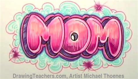 draw mom  bubble letters graffiti alphabet bubble