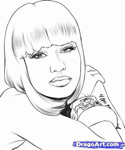 Coloring Nicki Pages Minaj Draw Step Drawing