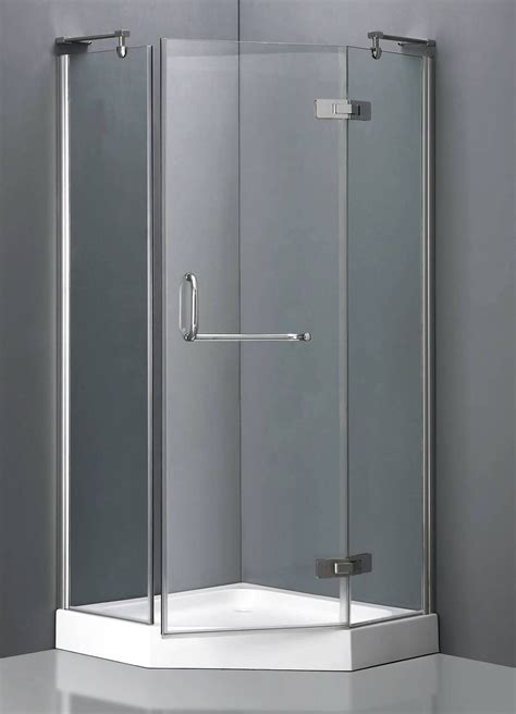 corner shower units  stylish grass door  stainless