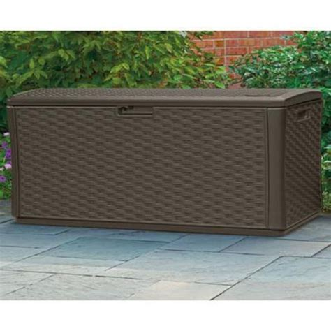 excellent and suncast resin wicker deck box with seat