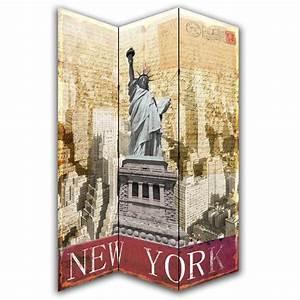 Dressing New York : new york postcard canvas dressing privacy screen folding room divider ~ Dallasstarsshop.com Idées de Décoration
