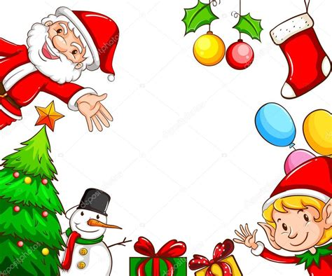 Decorazione Cornici Cornici Con Decorazioni Di Natale Vettoriali Stock