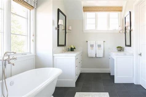 white bathroom  slate floor transitional bathroom
