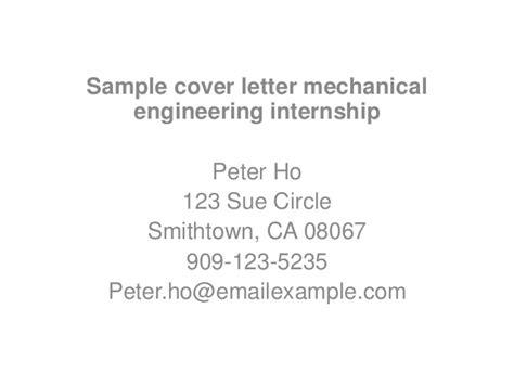 Mechanical Engineering Internship Cover Letter by Sle Cover Letter Mechanical Engineering Internship
