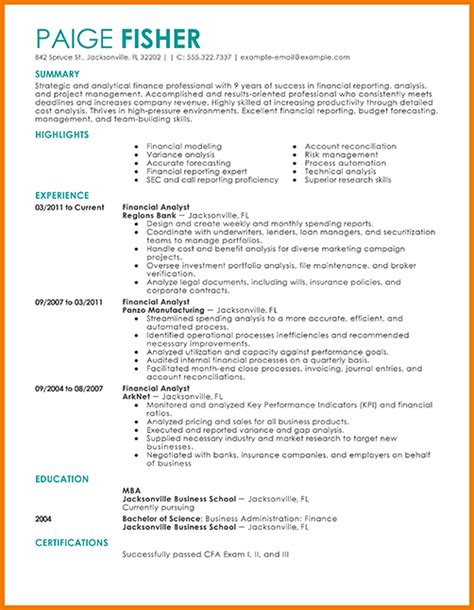 Finance Resume by 8 Financial Analyst Cv Financial Statement Form