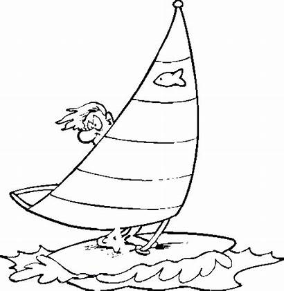 Coloring Windsurfing Cartoon Safety