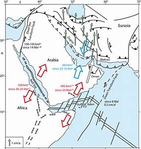 Tectonic Setting Of The Arabian Plate  Red And Blue