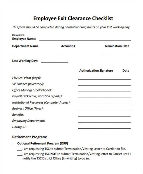 exit clearance form samples   ms word