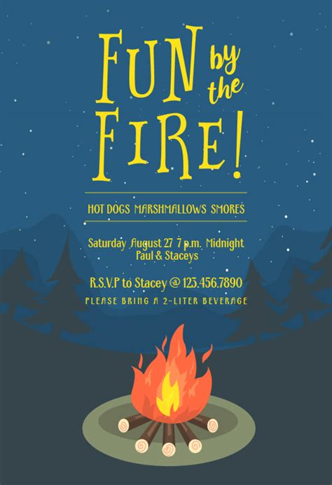 bonfire bug printable party invitation template
