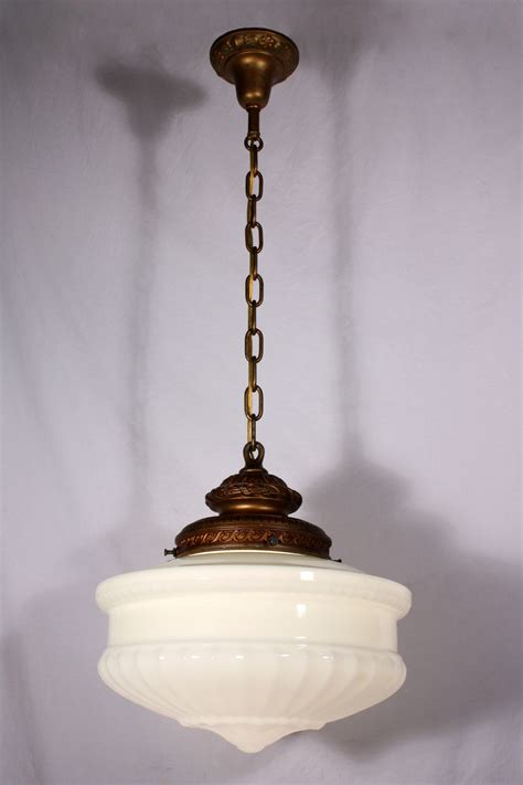 large antique pendant light fixture with original milk