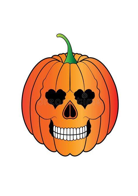 Art Skull With Pumpkin Halloween Day Stock Illustration