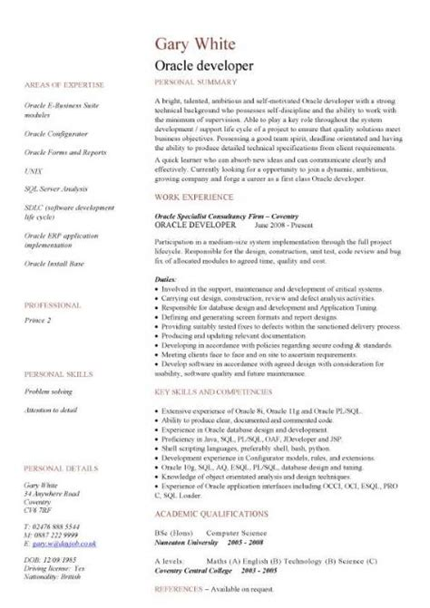 Oracle Apps Testing Resume by It Cv Template Cv Library Technology Description