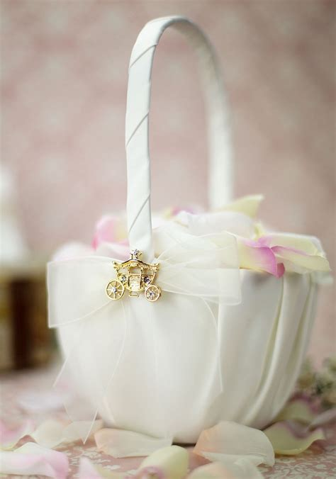 elegant fairy tale cinderella coach flowergirl basket