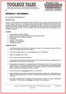 health and safety the surfacing company ltd With tool box talks template
