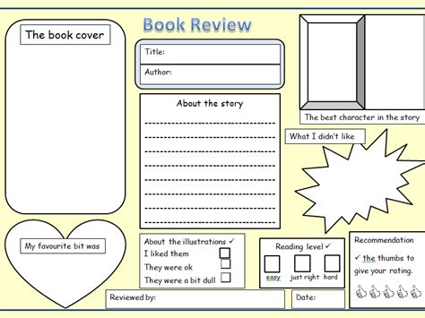 Book Review Template Ks1 2 Book Review Blank Template By Newromantic