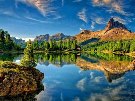 lake mountain sky reflection desktop wallpapers high