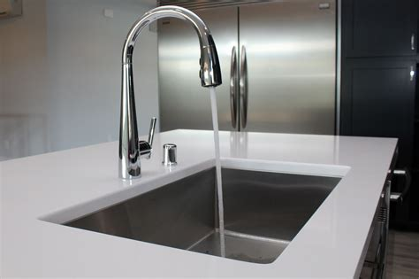 Stainless Undermount Kitchen Sink by White Quartz Counter With Stainless Steel Undermount Sink