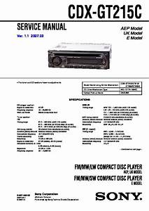 Sony Cdx-gt215c Service Manual