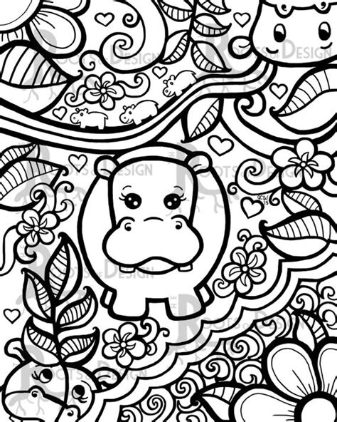 instant  coloring page hippo art print zentangle