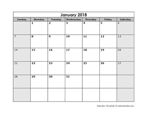 Blank Monthly Calendar Template 2018 Blank Monthly Calendar Free Printable Templates