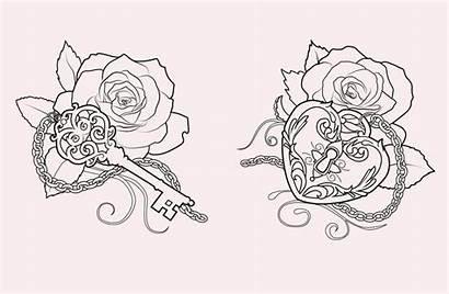 Heart Tattoo Lock Key Rose Designs Roses
