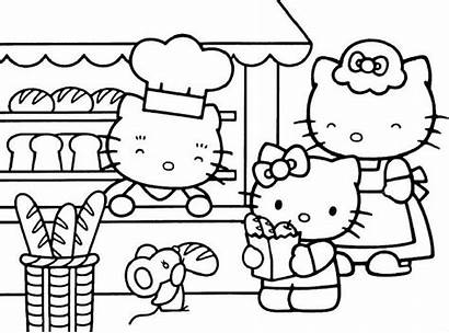 Shopping Coloring Pages Hello Kitty Getcolorings
